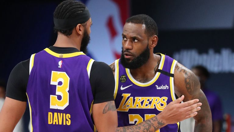Anthony Davis and LeBron James in action during the Lakers' series-sealing Game 5 win over the Denver Nuggets