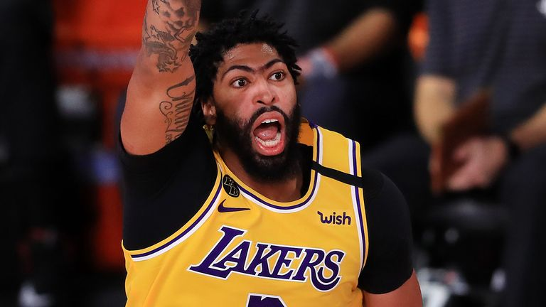 Anthony Davis calls to his team-mates during the  Lakers' Game 4 victory over the Houston Rockets