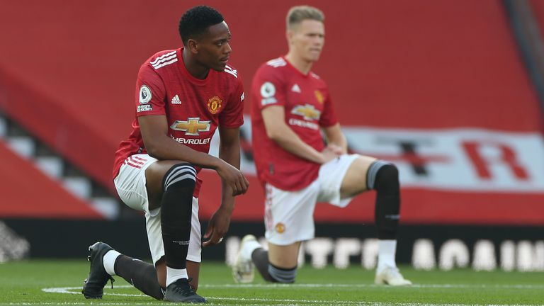 Anthony Martial and Scott McTominay take a knee in support of Black Lives Matter