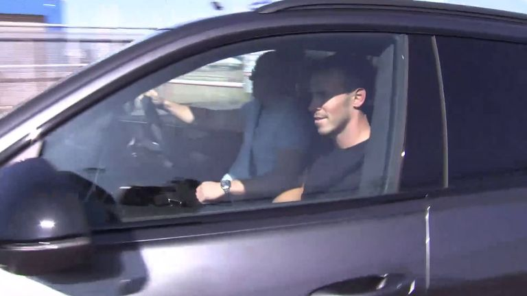 Gareth Bale drives away from the airport