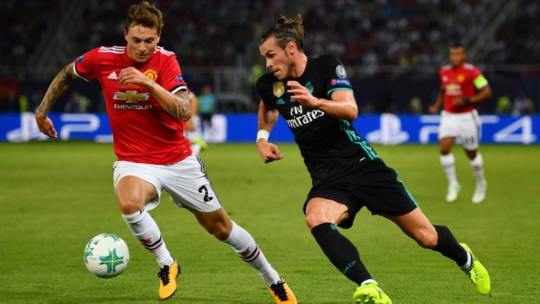 during the UEFA Super Cup final between Real Madrid and Manchester United at the Philip II Arena on August 8, 2017 in Skopje, Macedonia.
