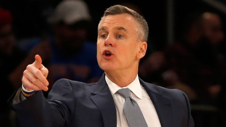 New Chicago Bulls coach Billy Donovan pictured on the sidelines during his tenure  with the Oklahoma City Thunder