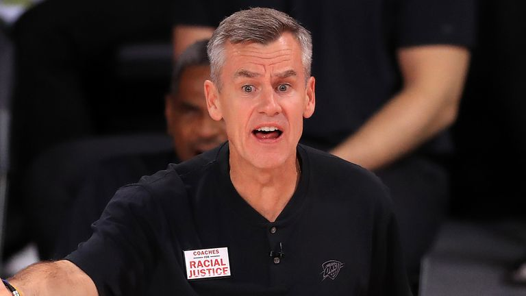 Billy Donovan issues instructions from the Thunder sideline