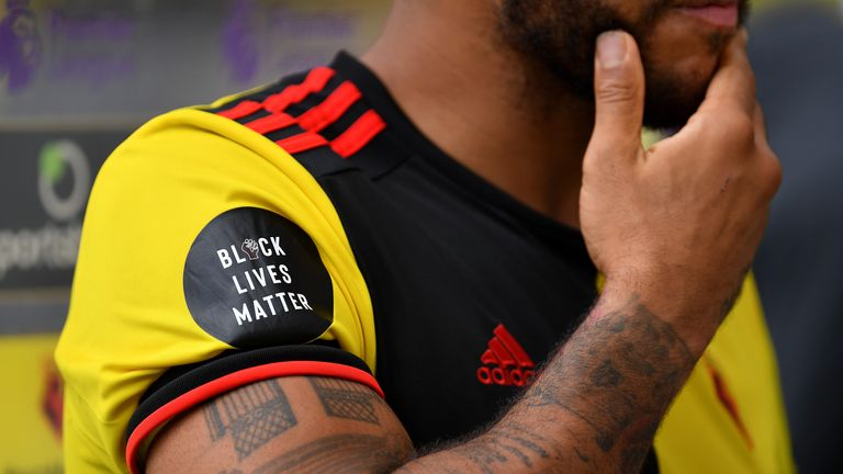 The Black Lives Matter logo appeared on Premier League players' kits at the end of last season