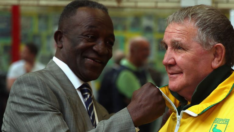 Former Boxer Maurice Hope (l) shares a joke with Repton Head Coach Tony Burns on October 10, 2014 in London, England. (Photo by Bryn Lennon/Getty Images)