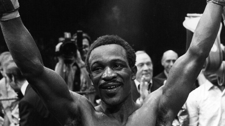 Maurice Hope, the British world light-middleweight champion raises his arms after beating Italian-American Rocky Mattioli at the Wembley Conference centre. (Photo by Keystone/Getty Images)