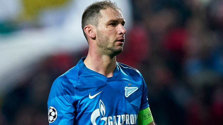 Branislav Ivanovic of FC Zenit Saint Petersburg reacts during the UEFA Champions League group G match between SL Benfica and Zenit St. Petersburg at Estadio da Luz on December 10, 2019 in Lisbon, Portugal