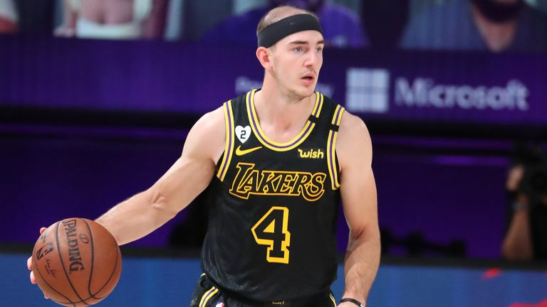 Alex Caruso of the Los Angeles Lakers handles the ball during the game against the Houston Rockets during Game Two of the Western Conference Semifinals