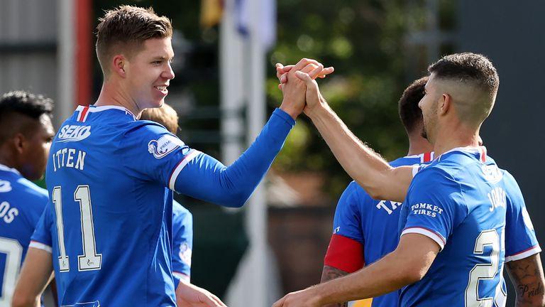 Cedric Itten celebrates putting Rangers 4-0 up