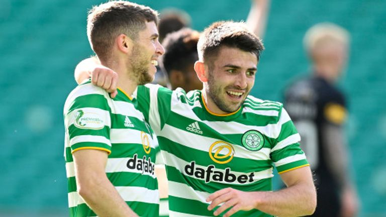 Ryan Christie and Greg Taylor celebrate Celtic's second goal against Livingston