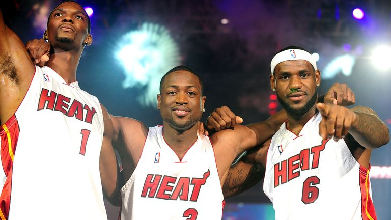 Chris Bosh, Dwayne Wade and LeBron James are introduced to Miami Heat fans in 2010