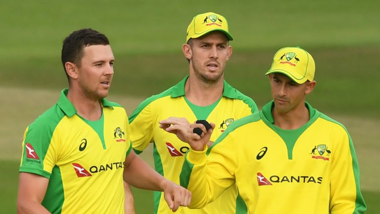 Josh Hazlewood took 1-23 in his first T20 international for four years
