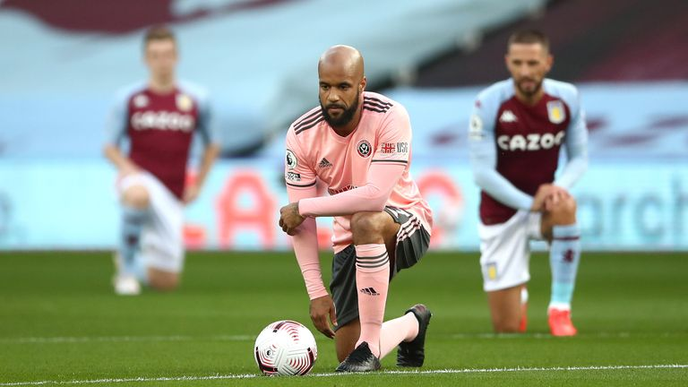 David McGoldrick takes a knee in support of Black Lives Matter