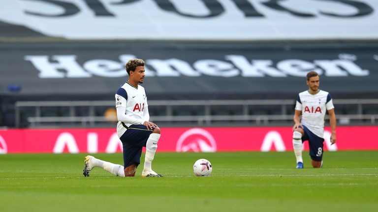 Dele Alli takes a knee at the Tottenham Hotspur Stadium