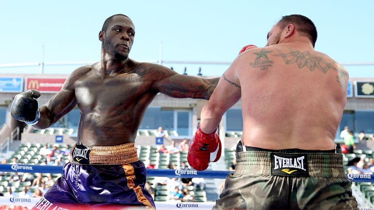 Deontay Wilder Jason Gavern in their heavywieght fight at StubHub Center on August 16, 2014 in Los Angeles, California.