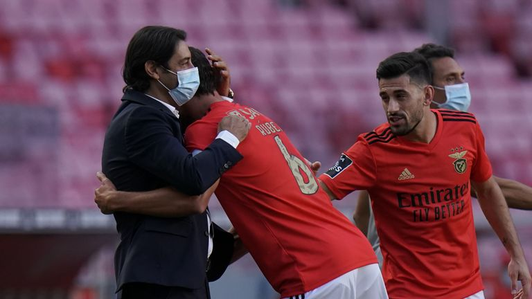 Dias went over to hug Benfica sporting director Rui Costa after scoring on Saturday