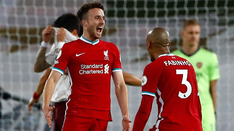 Diogo Jota celebrates after scoring Liverpool's third goal of the game
