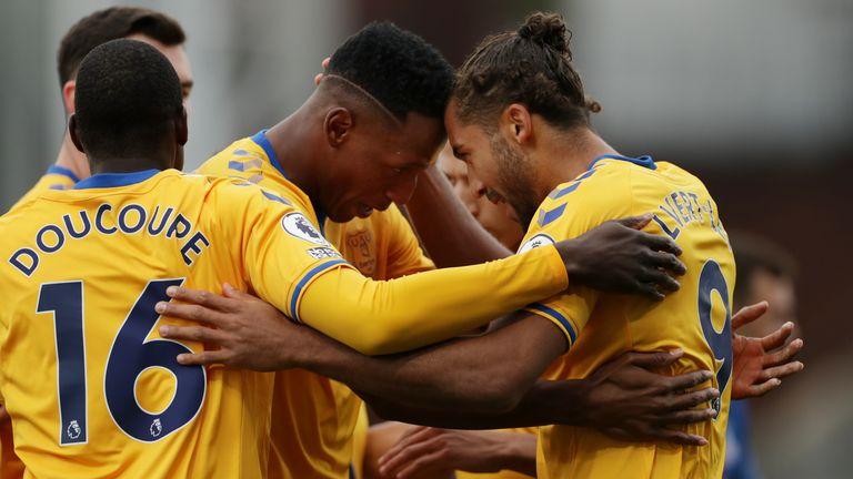 Dominic Calvert-Lewin celebrates his goal with team-mate Yerry Mina