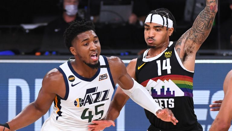 Gary Harris guards Donovan Mitchell in Game 7