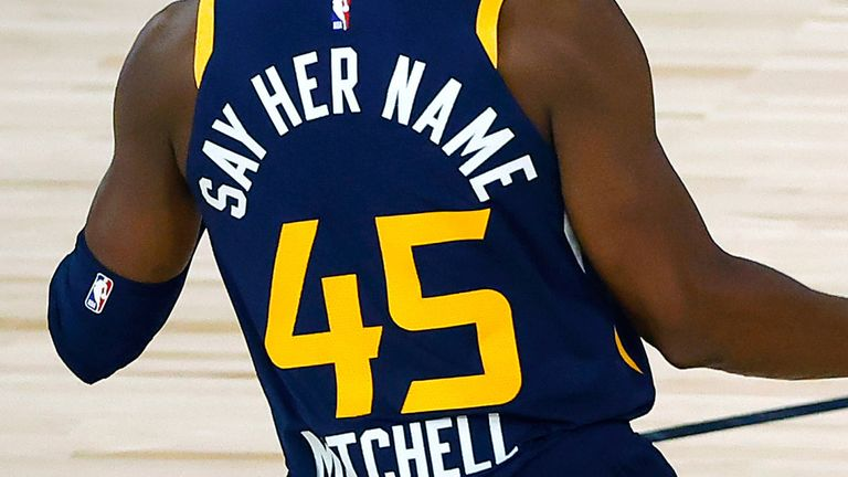 Donovan Mitchell supports the campaign for justice for Breonna Taylor by wearing 'Say Her Name' on his Jazz jersey