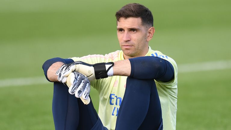 TEST UPLOAD - Emiliano Martinez pictured during a training session at London Colney on September 11, 2020