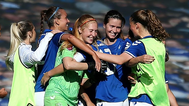 Players of Everton celebrate at full time after victory in the Women's FA Cup Quarter Final match between Everton FC and Chelsea FC at Goodison Park on September 27, 2020