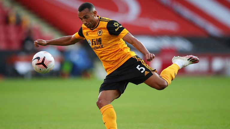 Fernando Marcal in Premier League action for Wolves vs Sheffield United at Bramall Lane