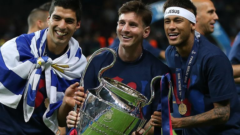 Luis Suarez, Lionel Messi and Neymar with the Champions League trophy in 2015