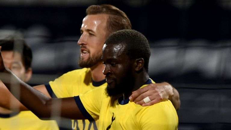 Tanguy Ndombele of Tottenham Hotspur celebrates with teammates after scoring his sides second goal during the UEFA Europa League second qualifying round match between Lokomotiv Plovdiv and Tottenham Hotspur at Stadion Lokomotiv Plovdiv on September 17, 2020 in Plovdiv, Bulgaria.