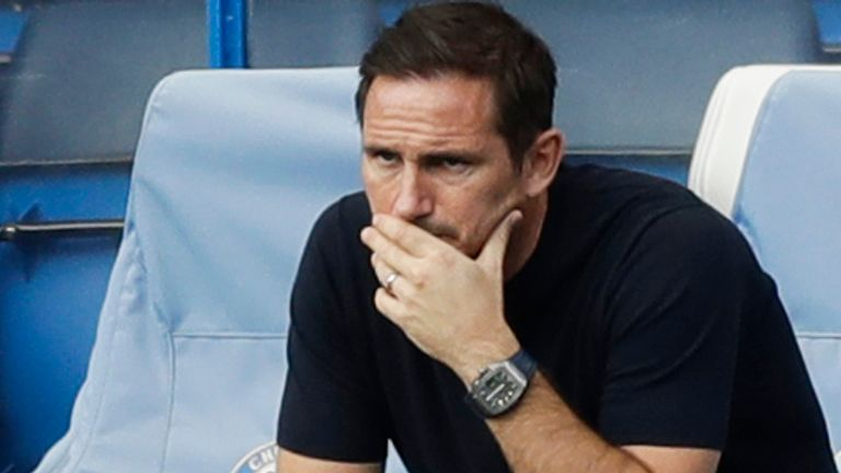 Frank Lampard cuts a dejected figure during his teams 2-0 loss to Liverpool
