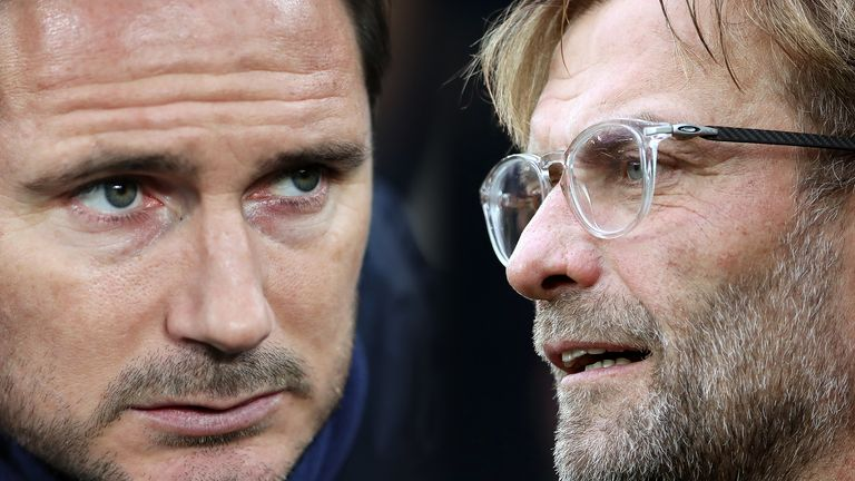 Frank Lampard and Jurgen Klopp face off when Chelsea host Liverpool on Sunday