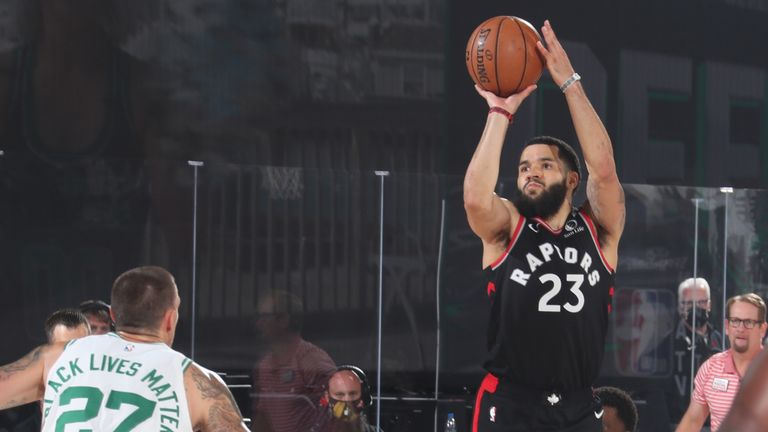 Fred VanVleet of the Toronto Raptors shoots the ball against the Boston Celtics during Game Four of the Eastern Conference Semi-finals