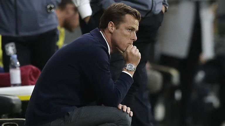 Fulham manager Scott Parker during the match against Aston Villa