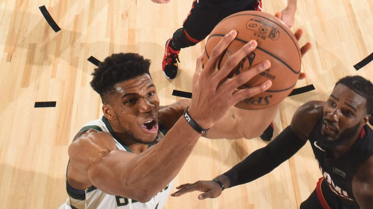 Antetokounmpo reaches for the basket in Game 3 against the Heat