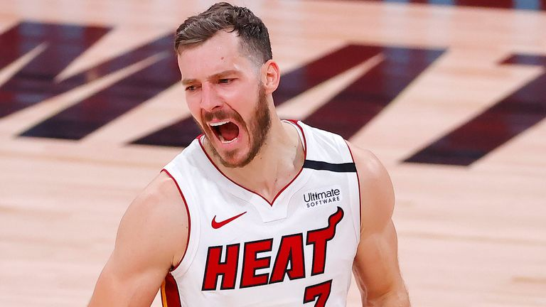 Goran Dragic celebrates a play during Miami's victory over the Boston Celtics in Game 2 of the Eastern Conference Finals