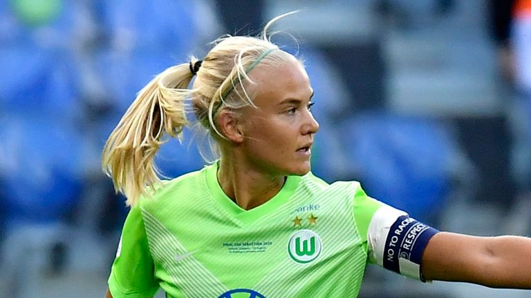 Pernille Harder captained Wolfsburg in their Champions League final defeat to Lyon on Sunday