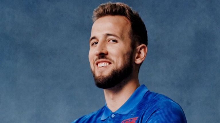 England captain Harry Kane wears the new blue away England shirt (Pic courtesy of England and Nike)