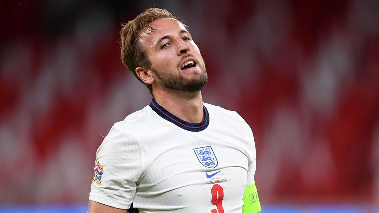 Harry Kane shows his frustration after missing a second-half chance
