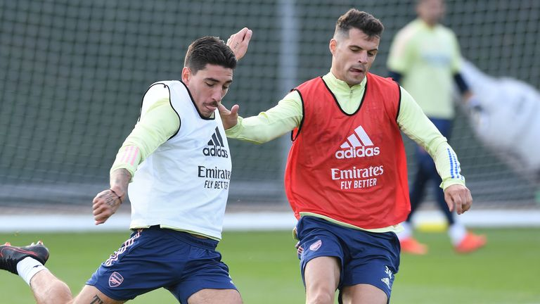 Hector Bellerin and Granit Xhaka in an Arsenal training session in September 2020
