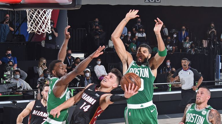 Tyler Herro of the Miami Heat drives to the basket against the Boston Celtics during Game Four of the Eastern Conference Finals