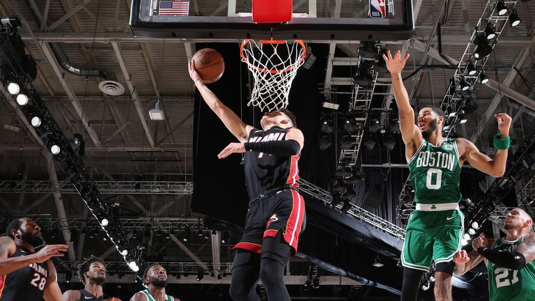 Tyler Herro of the Miami Heat drives to the basket during the game against the Boston Celtics during Game Four of the Eastern Conference Finals