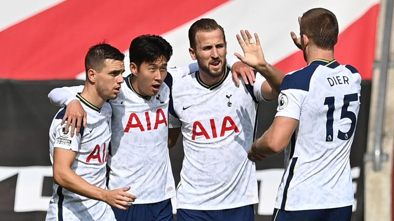 Heung-Min Son celebrates with Harry Kane, Giovani Lo Celso and Eric Dier after Spurs take a 2-1 lead