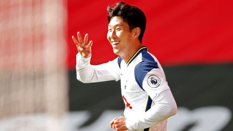 Heung-Min Son holds up four fingers after scoring his and Spurs' fourth goal of the game