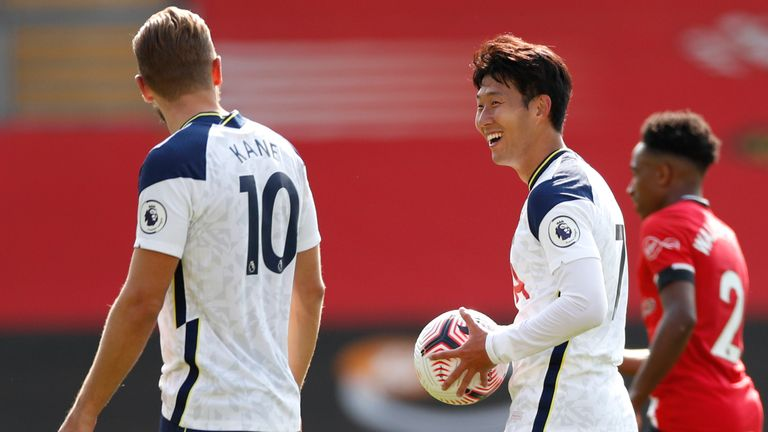 Heung-Min Son is seen post match with the match ball having scored 4 goals in Spurs' win over Southampton