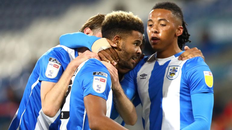HUDDERSFIELD, ENGLAND - SEPTEMBER 25: Fraizer Campbell of Huddersfield Town celebrates scoring his teams first goal during the Sky Bet Championship match between Huddersfield Town and Nottingham Forest at John Smith's Stadium on September 25, 2020 in Huddersfield, England. (Photo by Chloe Knott - Danehouse/Getty Images)
