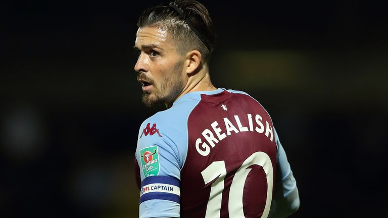Jack Grealish of Aston Villa during the Carabao Cup Second Round match between Burton Albion v Aston Villa at Pirelli Stadium on September 15, 2020 in Burton-upon-Trent, England.