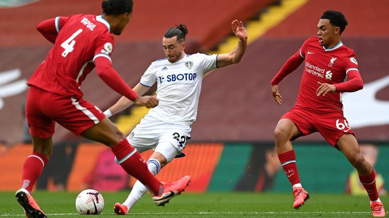 Jack Harrison equalises for Leeds at Anfield