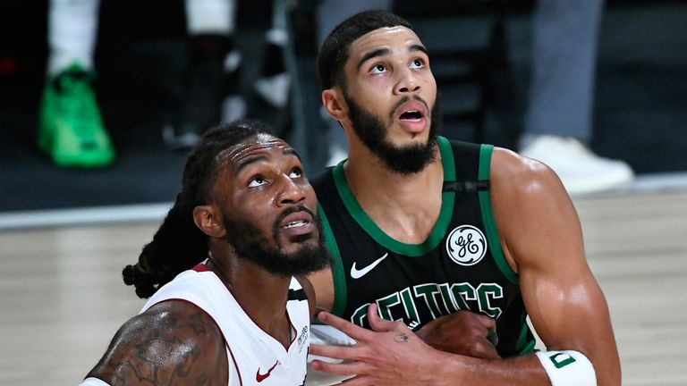 Jae Crowder and Jayson Tatum compete for a rebound in Game 5 of the Eastern Conference Finals