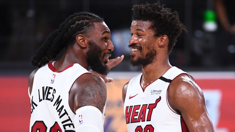 Jae Crowder and Jimmy Butler celebrate following the Heat's Game 2 win