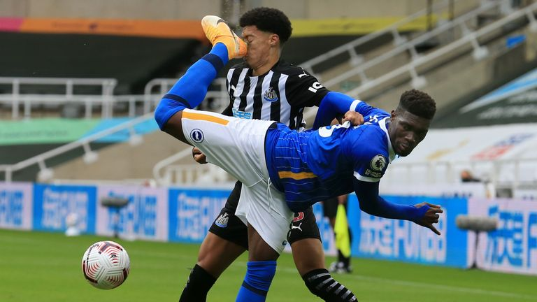 Jamal Lewis is kicked in the face by Yves Bissouma resulting in red card for the Brighton midfielder following a VAR check
